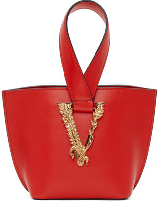 Versace Red Mini Virtus Bucket Bag
