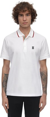 Burberry Tb Logo & Icon Stripe Cotton Pique Polo