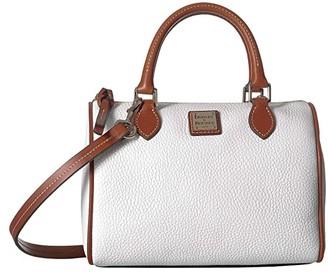 Dooney & Bourke Pebble Trudy Satchel (White/Tan Trim) Handbags