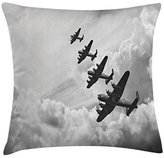 Airplane Throw Pillow Cushion Cover by Ambesonne, Retro Lancaster Bomber Jets from Battle Royal Air Force in Clouds Plane Photo, Decorative Square Accent Pillow Case, 16 X 16 Inches, Black White