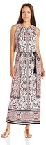 London Times Women's Petite Sleeveless Printed Blouson Maxi Dress with Tassle Belt