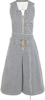 Chloé Open-back Striped Cotton Jumpsuit - Navy