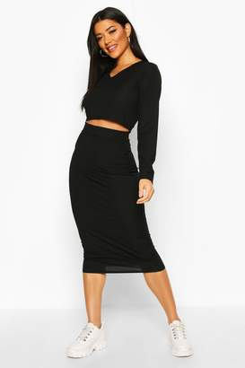 boohoo Rib Long Sleeve Top And Midi Skirt Co-ord