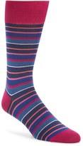 Bugatchi Men's Pop Stripe Mercerized Cotton Socks