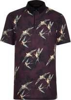 River Island Mens Red bird print slim fit polo shirt
