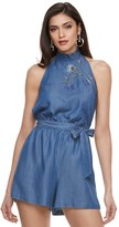 JLO by Jennifer Lopez Women's Embroidered Chambray Romper