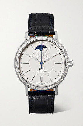 IWC SCHAFFHAUSEN Portofino Automatic Moon Phase 37mm Stainless Steel, Alligator And Diamond Watch - Silver