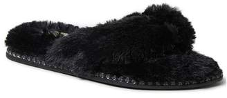 Dearfoams Faux Fur Thong Slipper