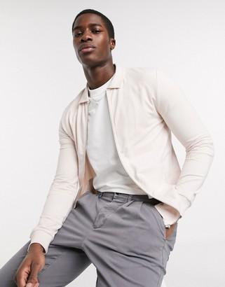 ASOS DESIGN muscle jersey harrington jacket in dusty pink