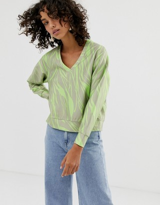 ASOS fluro print v-neck sweatshirt