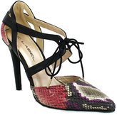 C Label Red & Black Snake-Print Lace-Up Liberty Pump