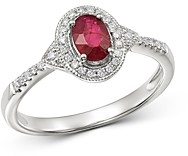 Bloomingdale's Ruby & Diamond Milgrain Ring in 14K White Gold - 100% Exclusive