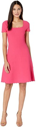 Milly Scallop Dress (Guava) Women's Clothing