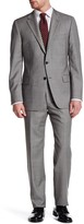 Hickey Freeman Gray Sharkskin Two Button Notch Lapel Wool Classic Fit Suit