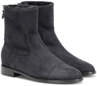 Suede and shearling ankle boots