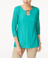 JM Collection Lace Overlay Tunic, Created for Macy's