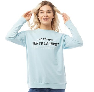 Tokyo Laundry Womens Algadia Crew Neck Sweatshirt Aquamarine