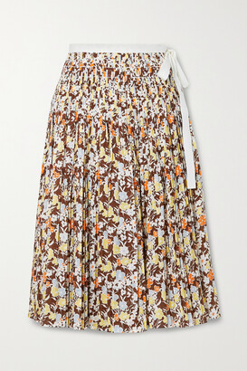 Tory Burch - Pleated Floral-print Cotton Wrap Midi Skirt - Brown