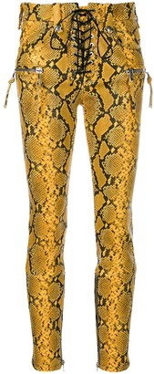 Unravel Project Snake Print Skinny Trousers