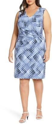 Nic+Zoe Crossover Tie Dye Twist Detail Dress