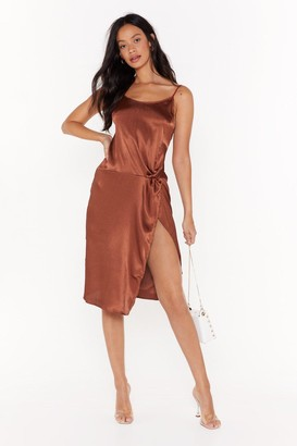 Nasty Gal Womens Smooth Talkin' Satin Midi Dress - brown - 8