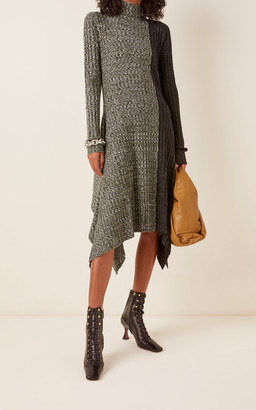 J.W.Anderson Asymmetric Two-Tone Midi Sweater Dress