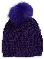 Lord & Taylor Rib-Knit Tuque with Fox Fur Pom-Pom