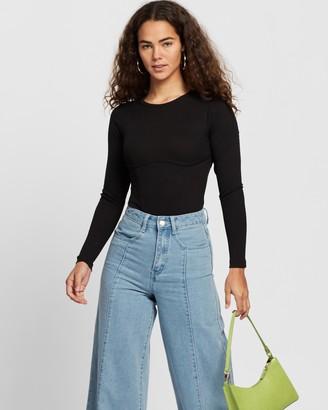 Dazie - Women's Black Bodysuits - Reflections Bodysuit - Size 16 at The Iconic