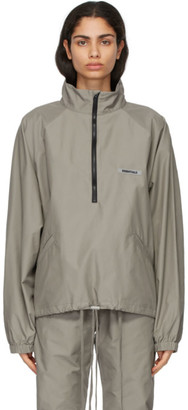 Essentials Taupe Half-Zip Track Jacket