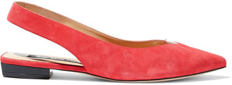 Sergio Rossi Pvc-trimmed Suede Slingback Point-toe Flats