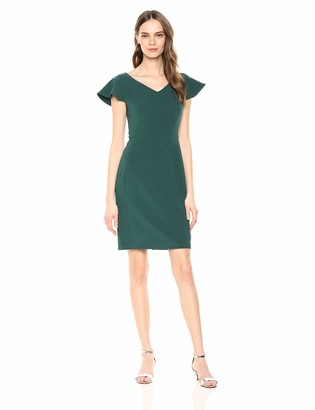 Lark & Ro Women's Flutter Sleeve Double V Neck Sheath Dress