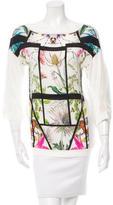Class Roberto Cavalli Floral Print Linen Top