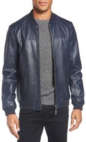 Ted Baker Men's 'Action' Trim Fit Leather Bomber Jacket