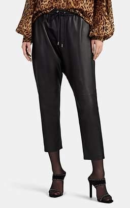 Nili Lotan Women's Monaco Leather Crop Drawstring Pants - Black