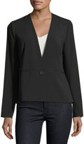 Laundry by Shelli Segal Mixed Media One-Button Blazer, Black