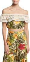 Miguelina Dakota Tropical Floral-Print Off-the-Shoulder Crop Top