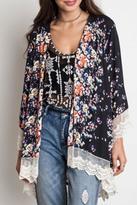 Umgee USA Black Floral Kimono