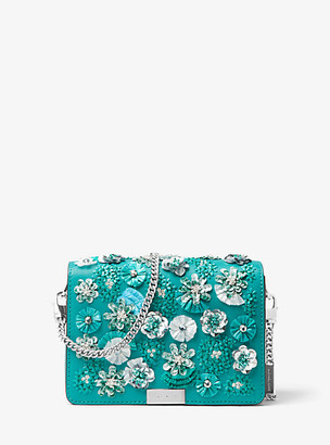 MICHAEL Michael Kors MK Jade Floral Sequined Leather Clutch - Turquoise - Michael Kors