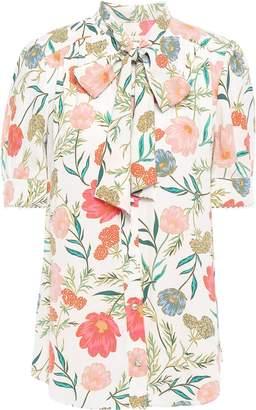 Kate Spade Pussy-bow Floral-print Crepe De Chine Blouse