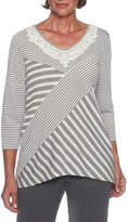 Alfred Dunner Lakeshore Drive 3/4 Sleeve V Neck Stripe T-Shirt-Womens