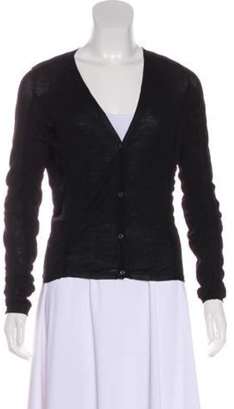 Prada Ruched Knit Cardigan Black Ruched Knit Cardigan