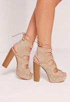 Missguided Lace Up Platform Heeled Sandals Nude