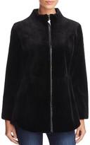 Maximilian Furs Leather Trim Sheared Mink Fur Coat