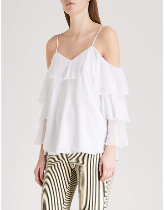 Alice + Olivia Alice & Olivia Marylee cold-shoulder ruffled woven top