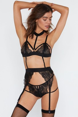 Nasty Gal Womens Game On Lace Bralette Thong Suspender and Stocking 4-pc Set - Black