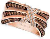 LeVian Le Vian® Chocolatier® PleatedTM Diamond X Ring (3/4 ct. t.w.) in 14k Rose Gold