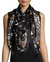 Alexander McQueen Obsessions Silk Satin Scarf, Black/Multicolor