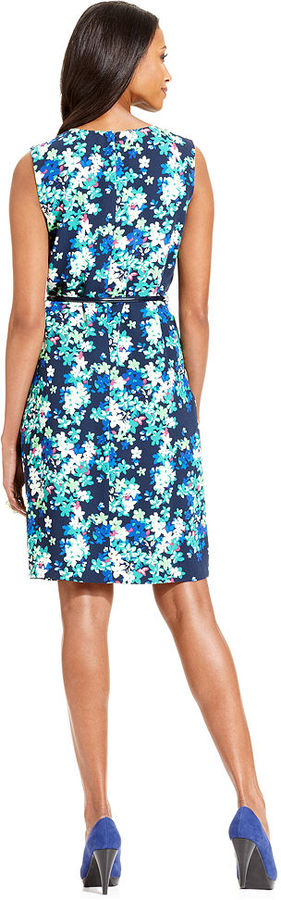 Charter Club Dress, Sleeveless Floral-Print Belted Sheath