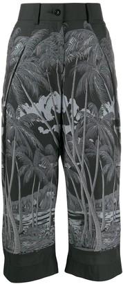 Sacai Palm Tree Print Cropped Trousers