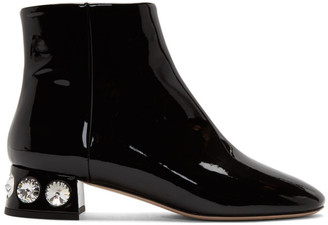 Miu Miu Black Patent Jewelled Ankle Boot